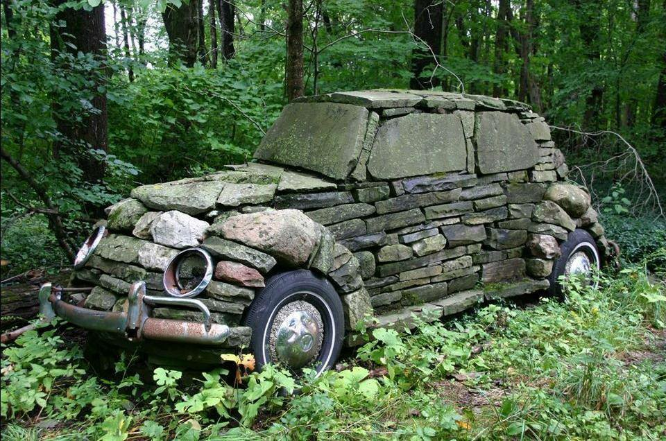 VW Bug out of stone, by Rebecca Kone