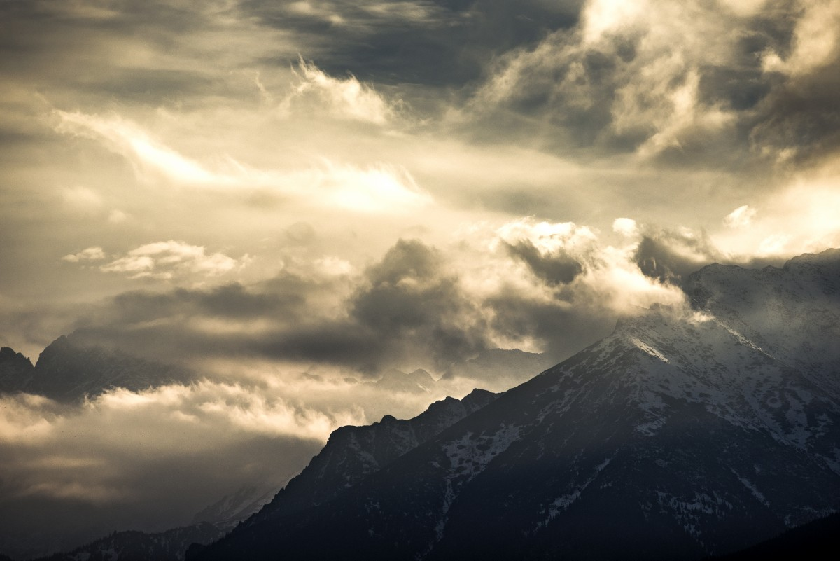 Tatra moutains under storm at the golden hour