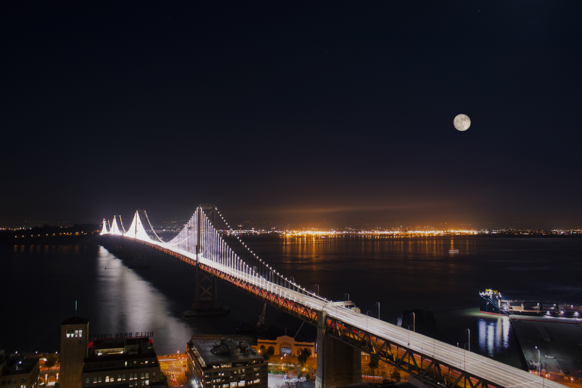Supermoon above Baybridge