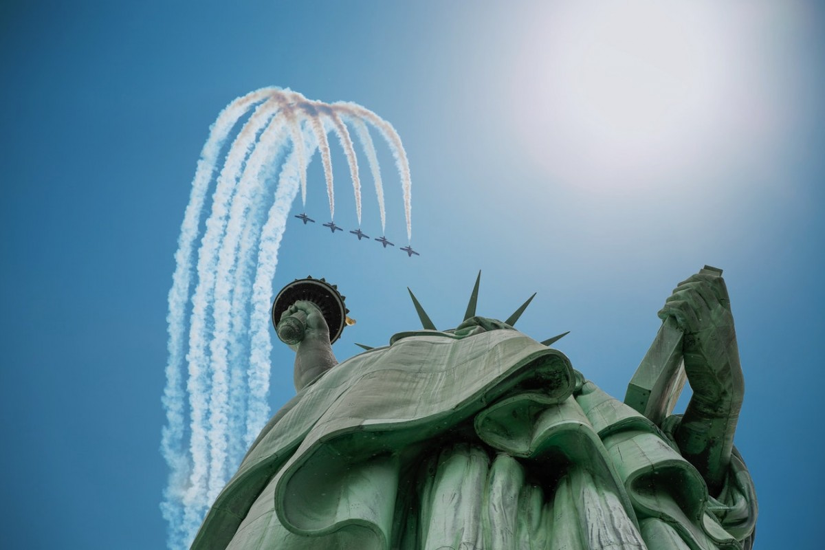 Blue angels NYC statue of liberty