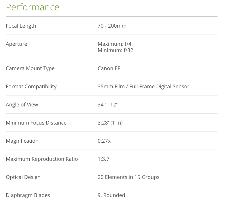 Canon EF 70-200mm f/4 Lens Specs